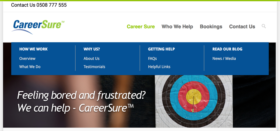 Careersure - new information architecture and new menus